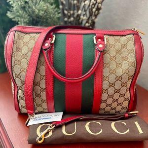 Gucci Boston Red Sherryline 2-way Crossbody Tote